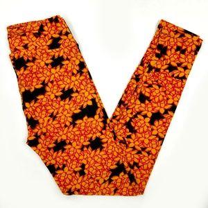 Lularoe New Black orange floral Leggings One Size